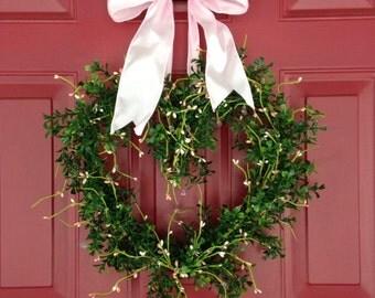Valentine Wreath - Valentine Gift for Girlfriend - Heart Wreath - Faux Boxwood Wreath - Valentines Day Wreath -