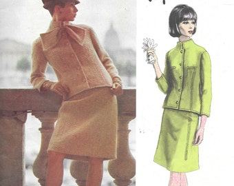 """Vintage 1960s Vogue Paris Original Pattern 1455- Jacques Griffe Misses' Suit size 10 bust 31"""" hip 33"""""""