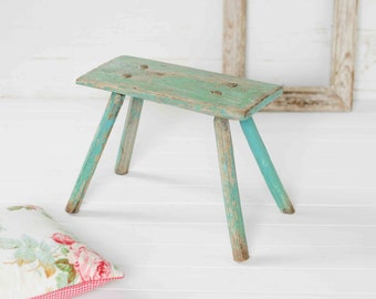 antique wood stool blue green