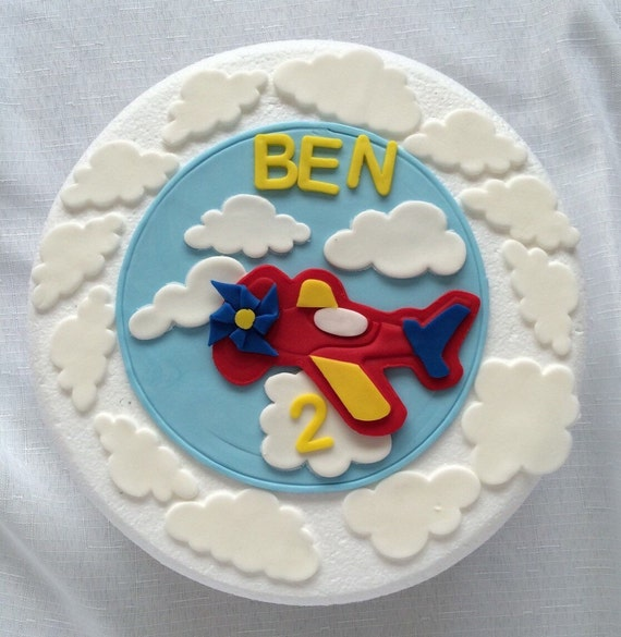Airplane cake topper 13pcs 6 edible fondant by inscribinglives for Airplane cake decoration