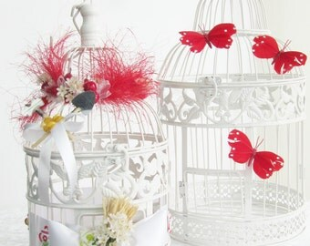 Cage bird marriage campaign urn apples pears flower watering cans