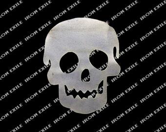 Simple Dumb Skull Metal Cut Out Hot Rat Rod Motorcycle Chopper Bobber Emblem