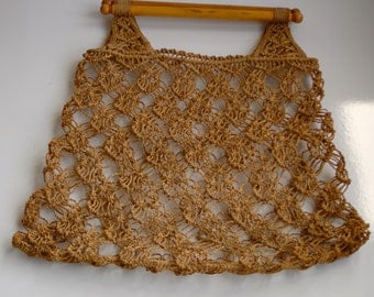 Vintage Retro 1970s Brown String Shopping Bag/beach bag - with Wooden Handles