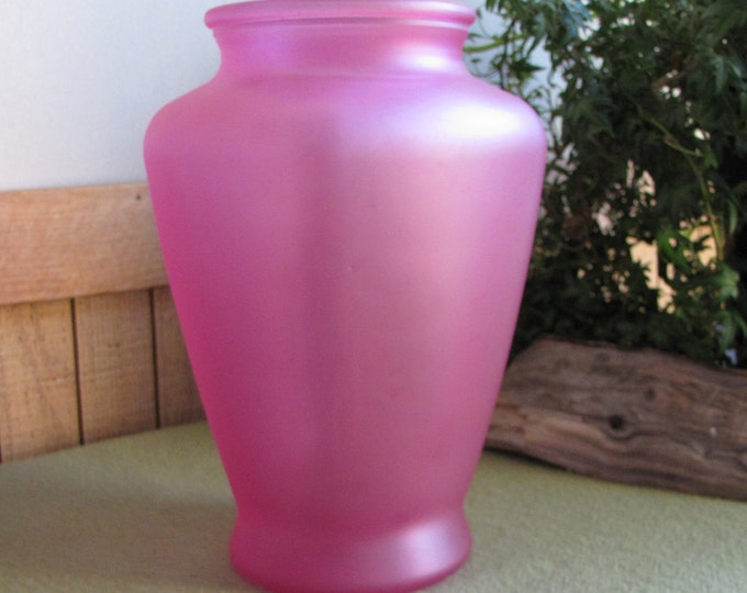Vintage Pink Square Flower Vase Rose Colored Made in the USA Florist Ware
