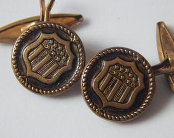 Vintage Antique Cufflinks Stars and Stripes Shield Cufflinks Men's Patriotic Cufflinks