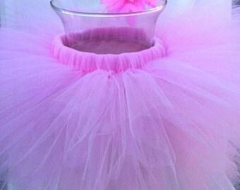 Pink Toddler Tutu Skirt and Flower Hair Clip/ Ballerina Tutu / Costume Tutu / Halloween Tutu Skirt
