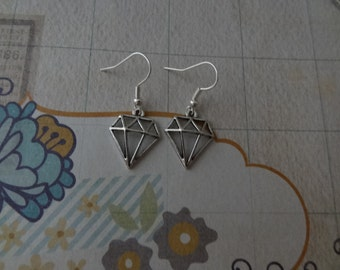 Diamond Shape Charm Earrings in Silver Tone with Fish or Kidney Hooks - Ready to Ship