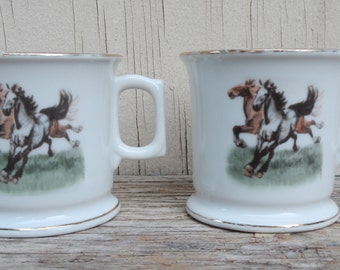 Pair of Miniature Vintage Chinese Horse Mugs!