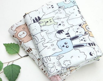 Animal Pattern Double Cotton Gauze Fabric by Yard - 2 Colors Selection