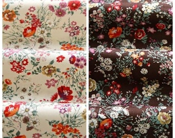 Flowers Pattern Cotton Fabric (143417)- 2 Colors Selection