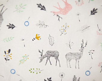Deer and Forest Pattern Cotton Fabric by Yard