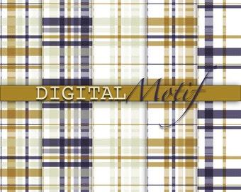 Plaid Digital Paper Pack, Instant Download, Printable Scrapbook Paper, Digital Background, Blue & Gold  Decoupage Paper  - DM101