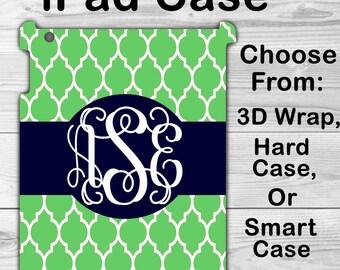 Monogram iPad Mini 1/2/3/4 Case Personalized iPad Air 1/2 Green Morrocan Lattice iPad 2/3/4 Smart Case iPad Retina Flip Case, 3D Case #2163