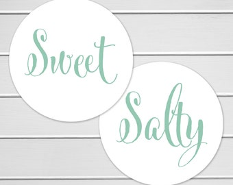 Sweet and Salty Stickers, Wedding Welcome Bag Sticker, His Favorite Her Favorite Wedding Stickers (#375)