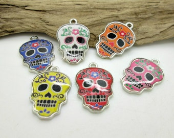 Sugar Skull Charm, Metal Sugar Skull, Enameled Skull Bead, Halloween Skull Bead 25x16mm  See Description for available colors