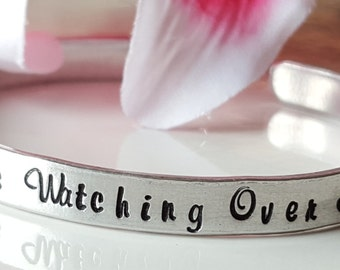 Inspirational Jewelry Inspirational Bracelet Religious Jewelry Custom Hand Stamped Cuff Bracelet Always Watching Over Me