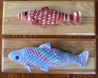 """Handicrafted, Mounted Fish - """"Caught by Crochet Hook"""" ...Salmon and Rainbow Trout, Trophy Plaques"""