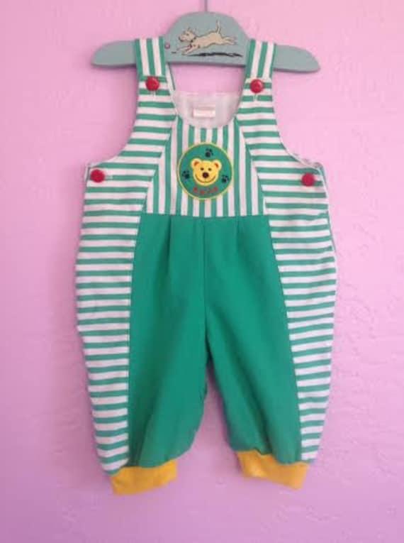 vintage teddy bear overalls vintage green striped overalls. Black Bedroom Furniture Sets. Home Design Ideas
