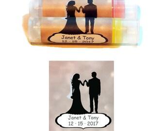 10 Lip balm favors, chapstick wedding favor, chapstick favor, wedding couple on label, wedding favor lipbalm, wedding favor chapstick