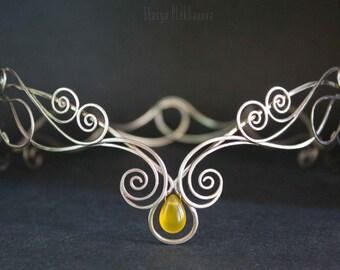 Elf tiara, Honey chalcedony tiara, Silver tiara, Elven diadem, Wire wrapped tiara. Elven crown. Wire crown.