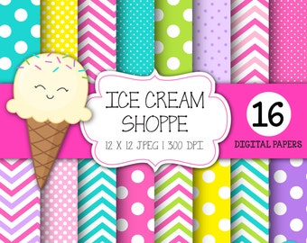 INSTANT DOWNLOAD, Birthday digital paper, Ice Cream Party, Ice Cream Cone Clipart, Ice Cream Clip Art, Polka Dots, Personal & Commercial Use