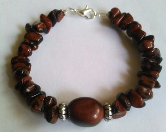 Bracelet with Tiger eye beads and Tibetan silver