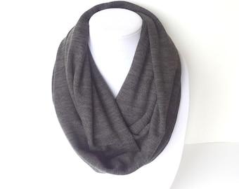 Gray Infinity Scarf, Knit Infinity Scarf, Fall Scarf, Neutral Scarf, Winter Infinity Scarf