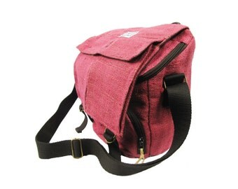 Hemp Messenger Bag / Camera Satchel / iPad Satchel - Handmade (Pink)