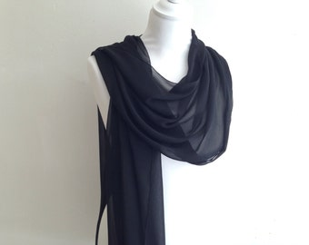 Chiffon shawl wedding black crepe evening gala bride ceremony 50/200 cm, Christmas scarf, stole season party, black shawl
