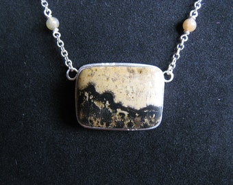Landscape stone sterling silver necklace