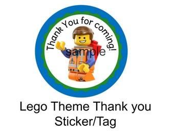 INSTANT DOWNLOAD Lego Movie Favor Tag or Sticker Printable File PDF