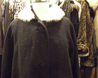 1950's Swing coat  with Mink collar L- XL
