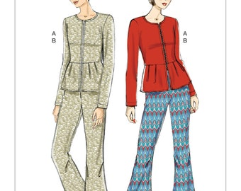 Vogue Pattern V9214 Misses' Collarless Peplum Jacket and Pleated-Knee Pants