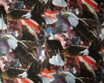 Patriotic Eagles Cotton Fabric Sold by the Yard