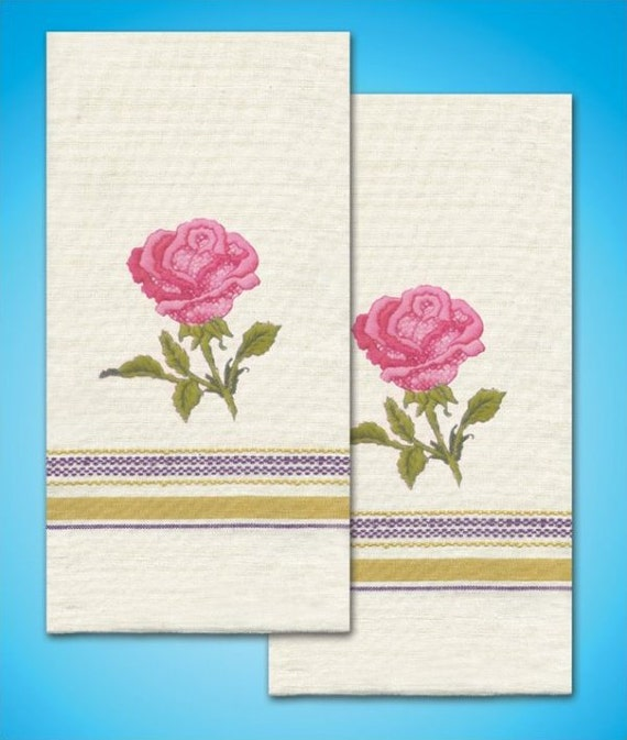 Rose Embroidered Towels: Tobin Rose Towels Stamped Embroidery Kit
