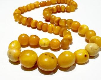 Egg Yolk amber necklace Art Deco 48g BIG 20mm biggest bead natural Amber egg yolk butter scotch caramel amber necklace