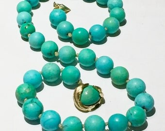 Turquoise necklace GIA gemologist tested Vintage Robin Egg blue natural Untreated turquoise 14k gold necklace