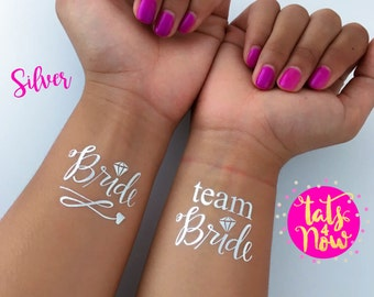 SILVER Temporary tattoos, Silver script Team bride and matching bride bachelorette tattoos