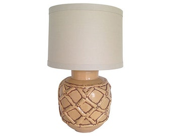 1960s Ceramic Bamboo Lamp w/Shade