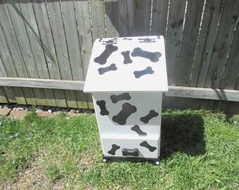 Dog food storage box with dog treat storage drawer