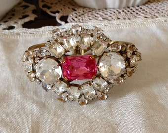 Vintage Clamper Bracelet Open Back with Clear And pink rhinestones