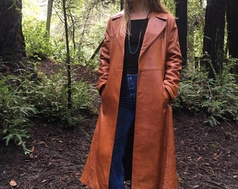 Rope-em Leather Duster Vintage 70's full length Jacket