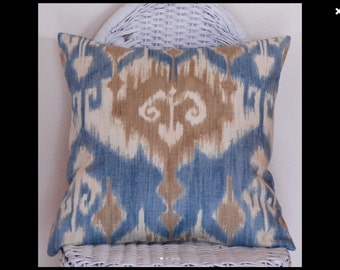 Blue Ikat Decorative Pillow