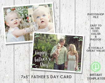 "Father's Day Card Template 7""x 5"" Photoshop Template - C1F002"