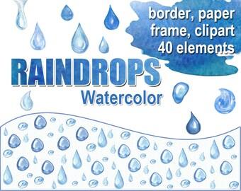 Raindrop clipart – Etsy