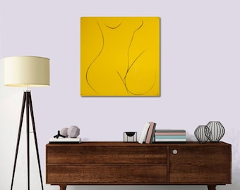 "Figuratif Painting Original Painting Abstract Painting Yellow Contemporary Silhouette ""Naked"" 19,7X19,7"