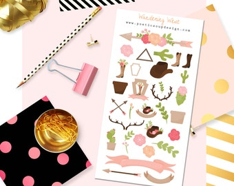 Out West Stickers, Wild West Stickers, Wandering West Stickers, Erin Condren, Cactus Kawaii Stickers, Agenda, Planners , Kawaii, Stickers