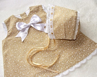"""Gown and hood """"Beige"""" for baby"""