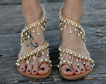 "Greek Sandals, Luxurious Sandals, Bridal Sandals, Wedding Sandals, ""Cleopatra"""