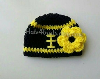 Pittsburgh Steelers Hat, Baby Girl Steelers Hat, Newborn Football Hat, Baby Pittsburgh Steelers, Crochet Steelers Baby Hat, Steelers Photo
